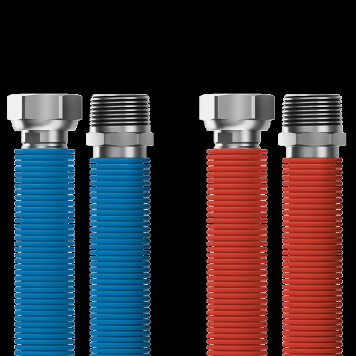 "Připojovací set Merabell Aqua Flexi R3/4""-G3/4"" 30-60cm - 2ks hadice (modrá, červená)"