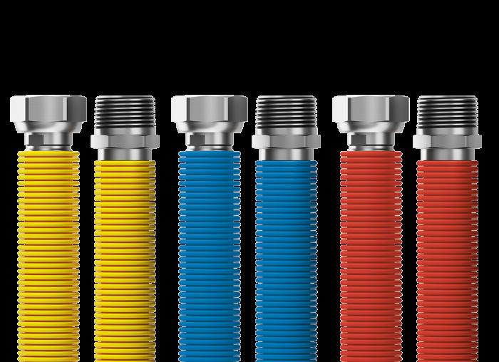 "Připojovací set Merabell Flexi R1/2""-G1/2"" 30-60cm - 3ks hadice (modrá, červená, žlutá)"