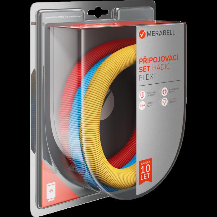 "Připojovací set Merabell Flexi R3/4""-G3/4"" 30-60cm - 3ks hadice (modrá, červená, žlutá)"